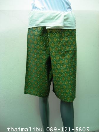 กางเกงเล ขาห้าส่วน ผ้าลายไทย