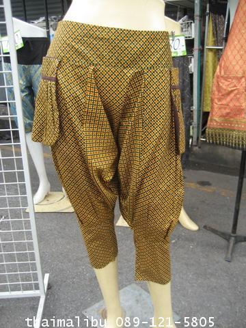 กางเกงแฟชั่น ทรงขี่ม้า ผ้าถุง 2