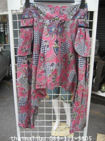 กางเกงแฟชั่น ทรงขี่ม้า ผ้าลายไทย 2