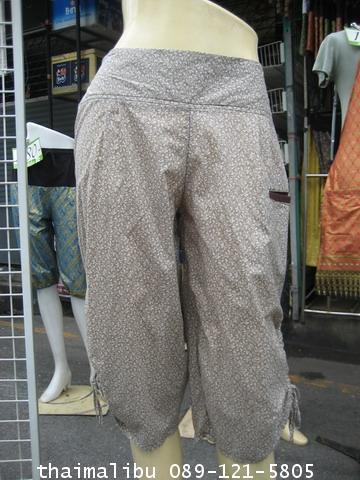 กางเกงแฟชั่น ทรงขี่ม้า ผ้าลายไทย