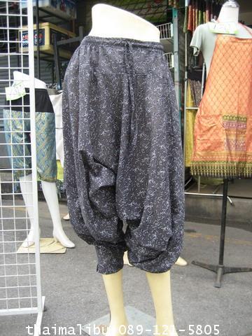 กางเกงแฟชั่น ทรงขี่ม้า ผ้าลายไทย 3