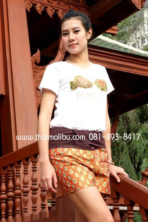 กางเกงเล ขาสั้น ผ้าลายไทย