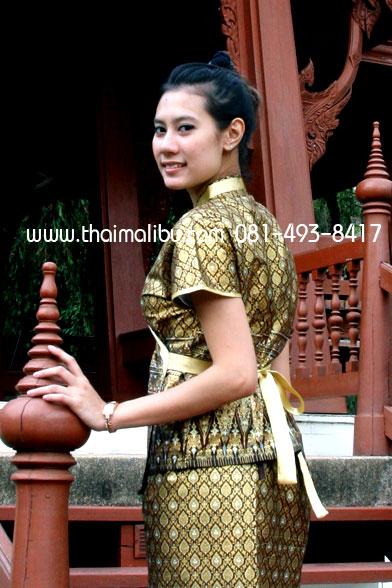 เสื้อผ้าไทย แถบผ้าลายไทย แบบป้าย แขนสั้น