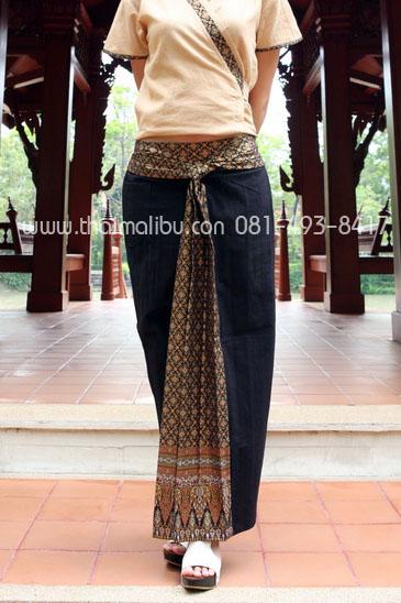 กางเกงจีบหน้านาง สีพื้น แถบผ้าลายไทย