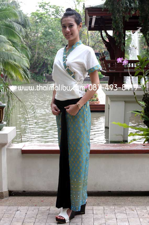 กางเกงจีบหน้านาง ผ้าลายไทย แถบพื้น