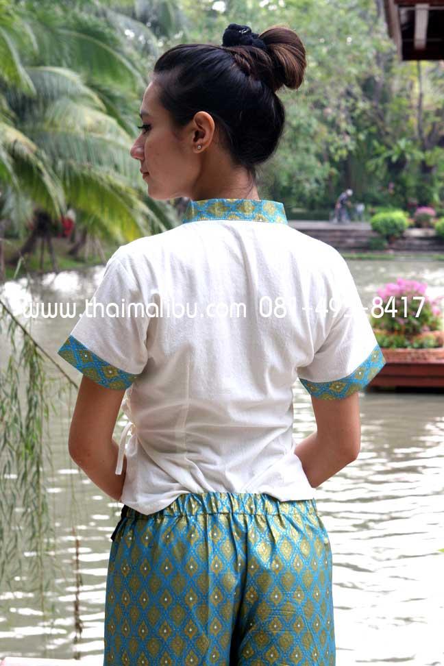 กางเกงจีบหน้านาง ผ้าลายไทย แถบพื้น 1