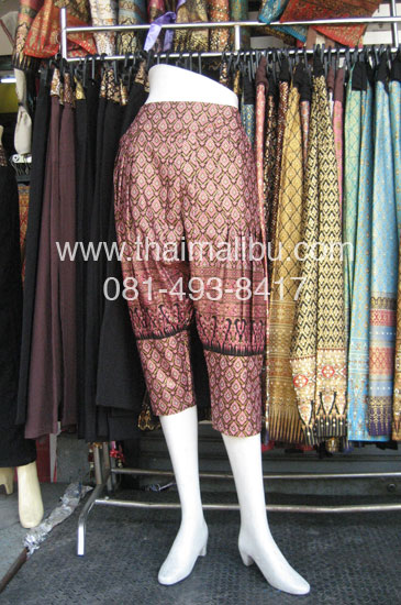 กางเกงแฟชั่น ทรงขี่ม้า ผ้าไทย หรือพื้นสี 5