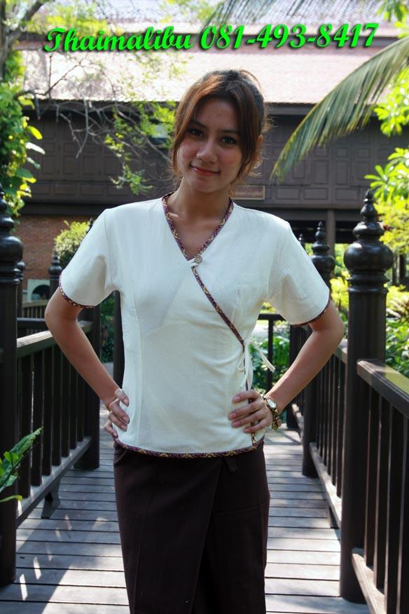 เสื้อผ้าฝ้ายครีม ขลิบผ้าลายไทย