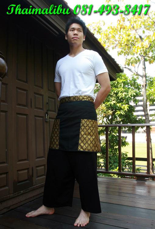 ผ้ากันเปื้อนครึ่งตัว ผ้าโทเรติดแถบลายไทย