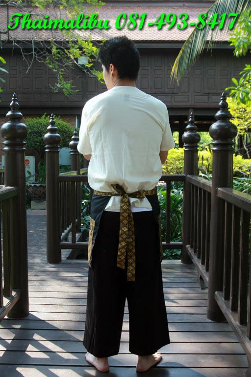ผ้ากันเปื้อนครึ่งตัว ผ้าโทเรติดแถบลายไทย 1