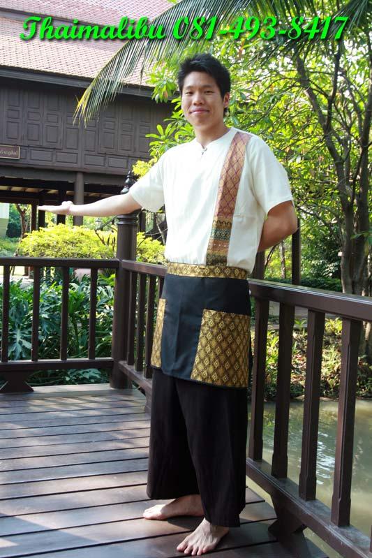 ผ้ากันเปื้อนครึ่งตัว ผ้าโทเรติดแถบลายไทย 2