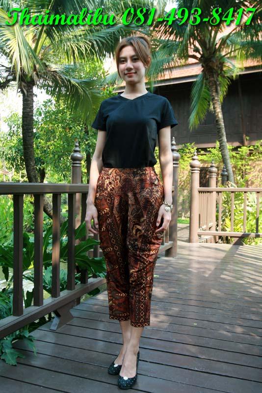 กางเกงผ้าไทย ทรงรูดข้าง