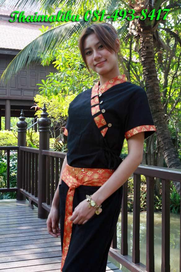 เสื้อผ้าฝ้ายสีดำ แถบผ้าลายไทย กระดุม แขนสั้น
