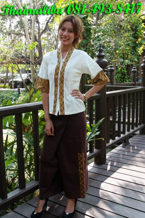 เสื้อพนักงานต้อนรับ ขลิบลายไทย แขนสามส่วน