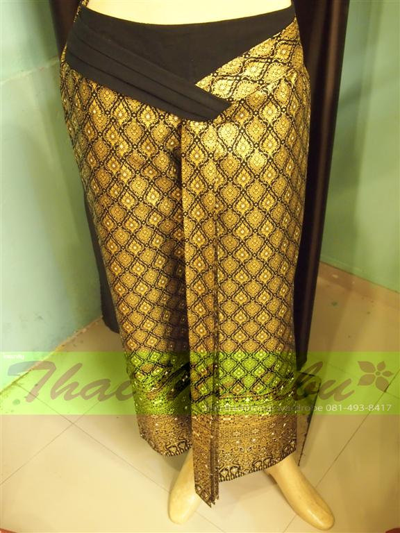 กางเกงจีบหน้านาง ผ้าลายไทยจีบลายไทย (แบบใหม่)