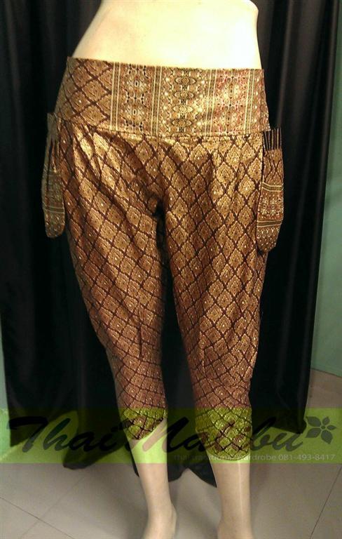 กางเกงแฟชั่น ทรงขี่ม้า ผ้าไทย หรือพื้นสี 1
