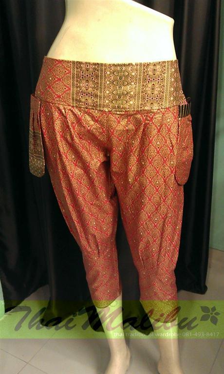 กางเกงแฟชั่น ทรงขี่ม้า ผ้าไทย หรือพื้นสี 3