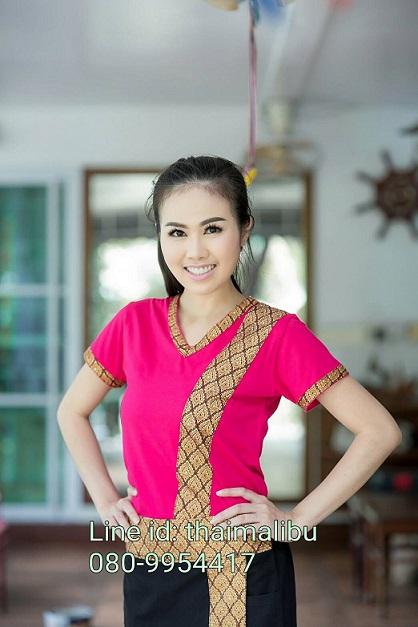 ชุดสปา เสื้อยืดคอวีบานเย็น ขลิบคอแขนลายไทย