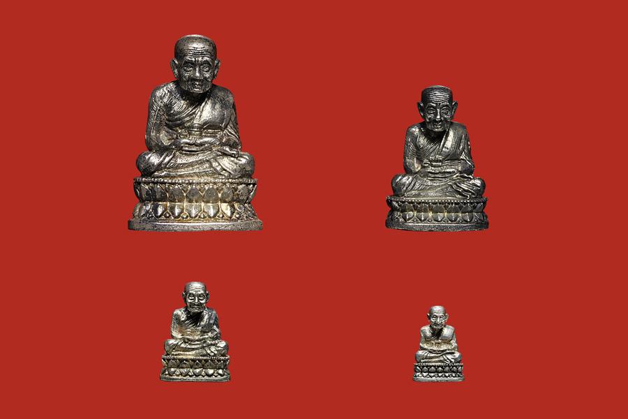 พระรูปหล่อหลวงปู่ทวด รุ่นสร้างเจดีย์ เนื้อเงิน ปี2533 ใหญ่ กลาง เล็ก จิ๋ว ครบชุด 1