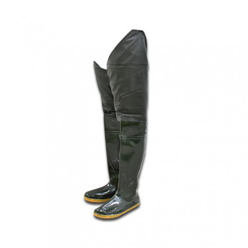 รองเท้าบูทขายาวกันน้ำ สีเขียวดำ