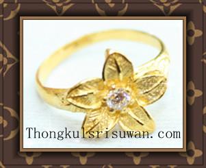แหวนฉีดดอกไม้ประดับเพชรรัสเซีย