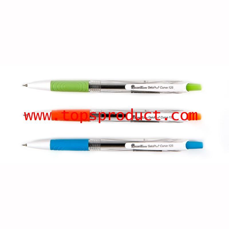 ปากกาลูกลื่น 0.5มม.น้ำเงิน คละสี ควอนตั้ม GeloPlus Curve 125
