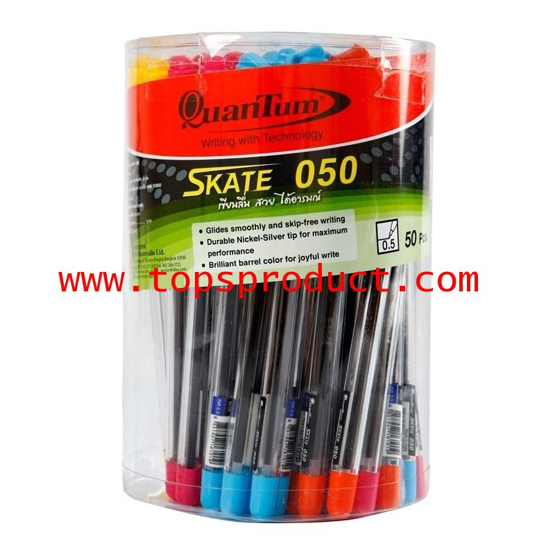 ปากกาลูกลื่น 0.5มม. (50ด้าม) น้ำเงิน ควอนตั้ม Skate 050