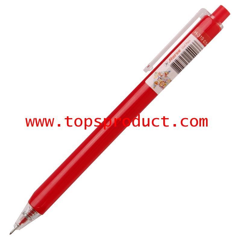 ปากกาเจลกด 0.5 มม. แดง ตราม้า H-319