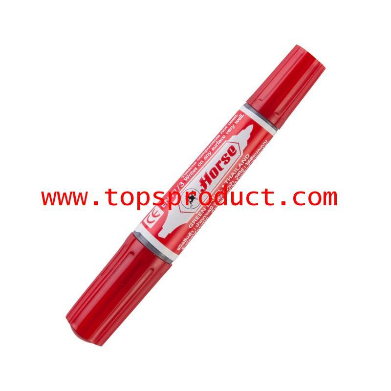 ปากกามาร์คเกอร์ 2 หัว (แพ็ค3ด้าม) แดง ตราม้า