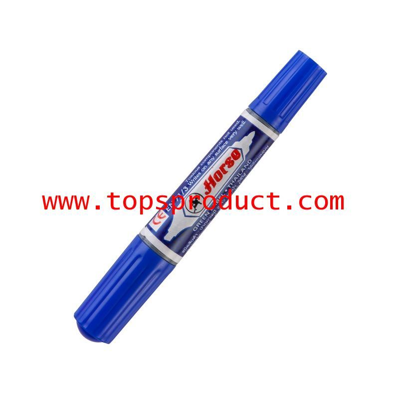 ปากกามาร์คเกอร์ 2 หัว (แพ็ค3ด้าม) น้ำเงิน ตราม้า