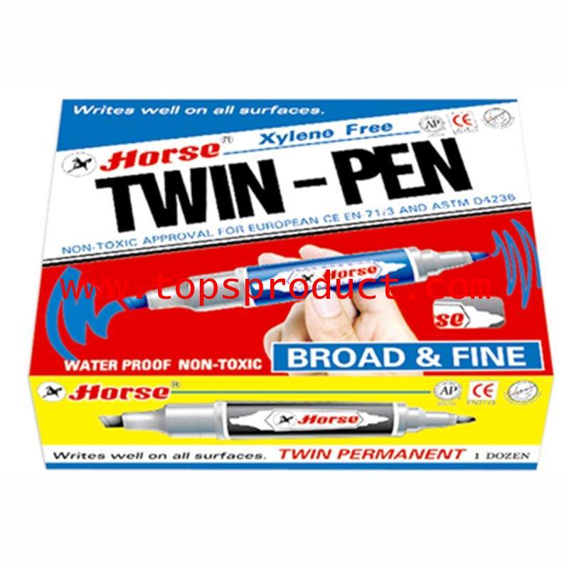 ปากกามาร์คเกอร์ 2หัว (แพ็ค12ด้าม) ดำ ตราม้า