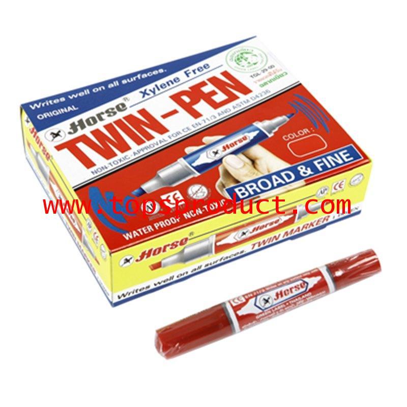 ปากกามาร์คเกอร์ 2 หัว (แพ็ค12ด้าม) แดง ตราม้า