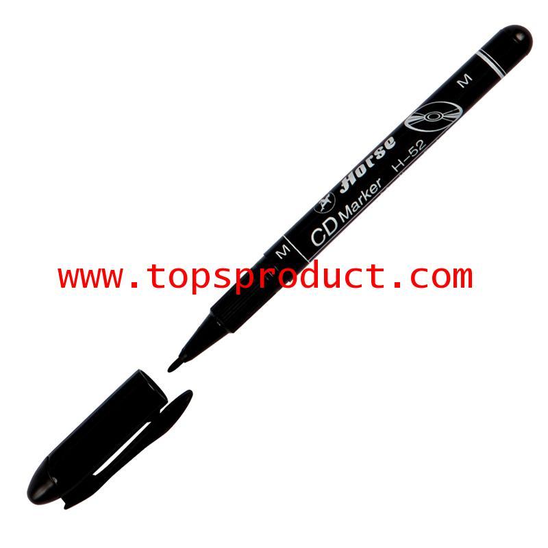 ปากกาเขียนแผ่นซีดีลบไม่ได้ 1 มม. ดำ M ตราม้า H-52M