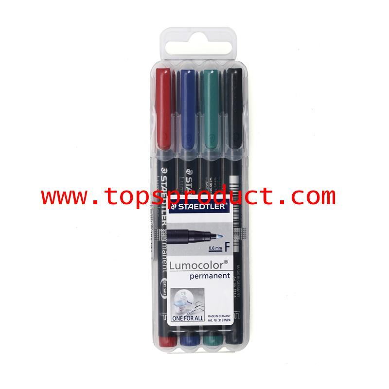 ชุดปากกาเขียนแผ่นใส ลบไม่ได้ (F) สเต็ดเล่อร์ 318-WP4