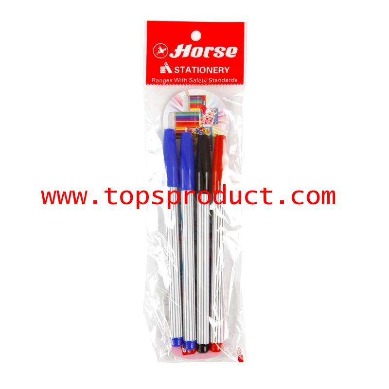 ปากกาสีเมจิก (แพ็ค4ด้าม) คละสี ตราม้า H-110