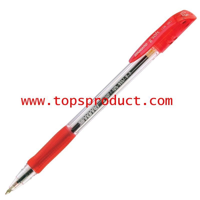 ปากกาลูกลื่น หมึกเจล 0.5 มม. แดง จีซอฟท์ Standard