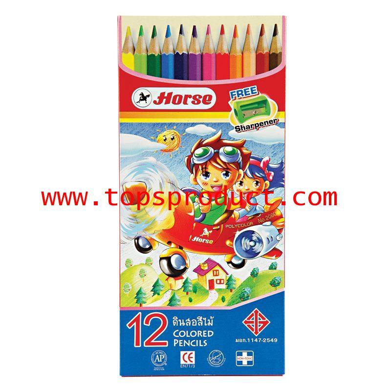 ดินสอสีไม้ยาวพร้อมกบเหลา 12 สี ตราม้า H-2080