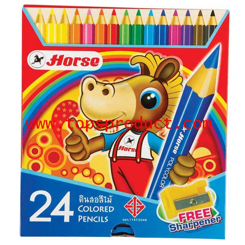 ดินสอสีพร้อมกบเหลา 24สี ตราม้า H-2080