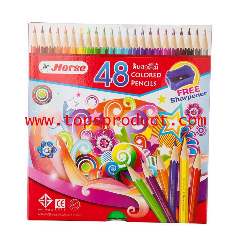 ดินสอสีไม้ 48 สี พร้อมกบเหลา ตราม้า H-2080