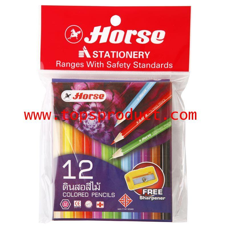 ดินสอสี่ไม้สั้น 12 สี+กบเหลา ตราม้า (กล่องม่วง) ตราม้า 12 Color Pencil