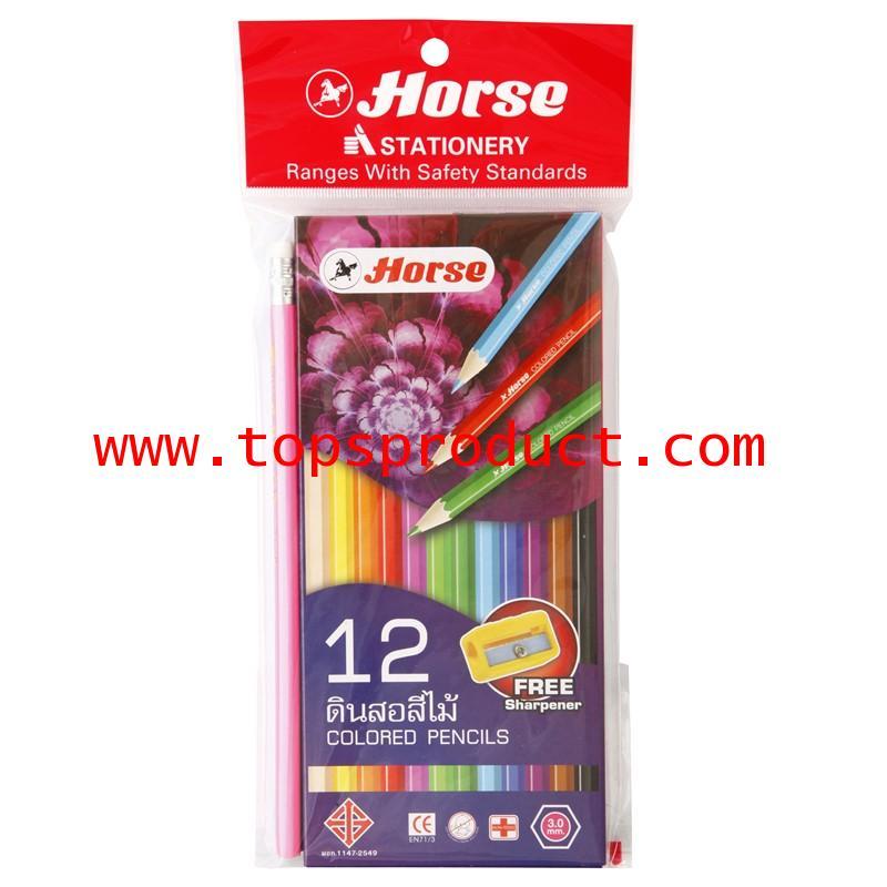 ดินสอสี่ไม้ยาว12สี+กบเหลา(กล่องม่วง) ตราม้า 12 Color Pencil