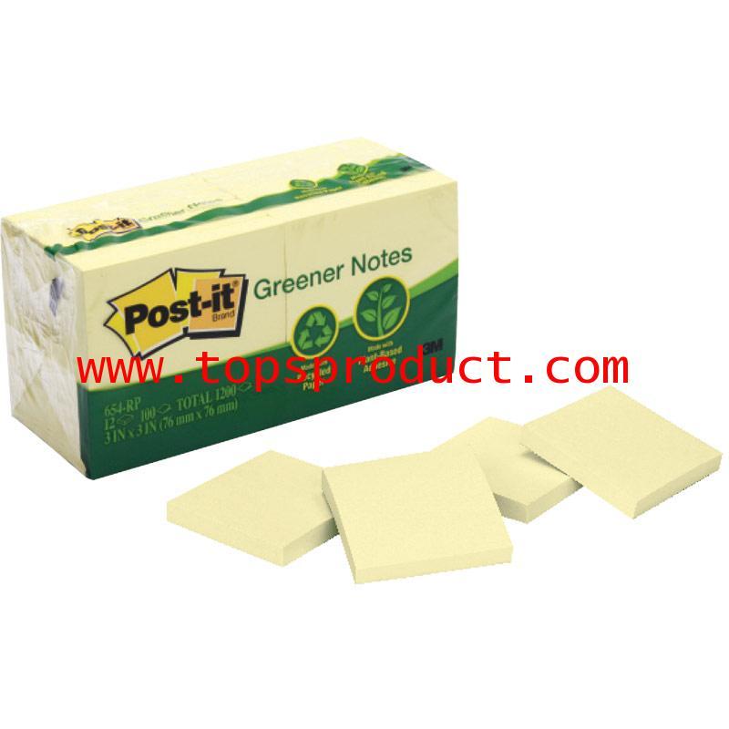 โพสต์-อิท กรีนเนอร์ โน้ต 3x3นิ้ว 100แผ่น (แพ็ค12เล่ม) เหลือง