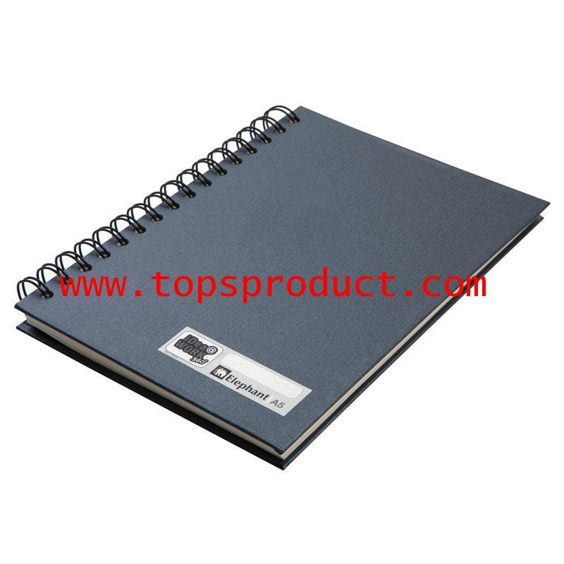 สมุดปกแข็งริมลวด A5 70 แกรม ดำ (100แผ่น) ตราช้าง WP-112