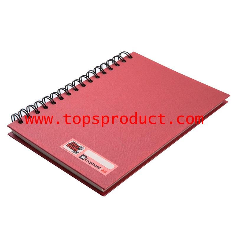 สมุดปกแข็งริมลวดA5 70 แกรม แดง(100แผ่น) ตราช้าง WP-110