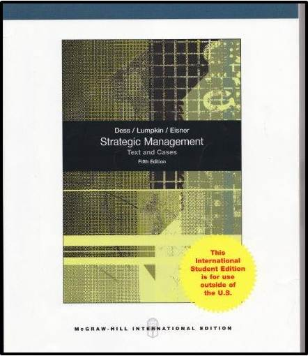 Strategic Management Text and Cases  5 Edition  ISBN 9780071314053