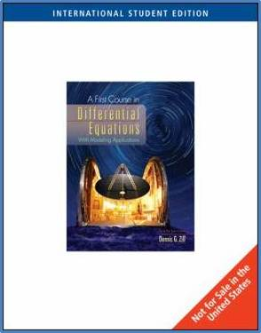 A First Course in Differential Equations  ISBN 9780495556220