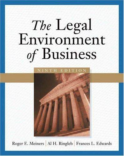 The Legal Environment of Business  ISBN 9780324311105