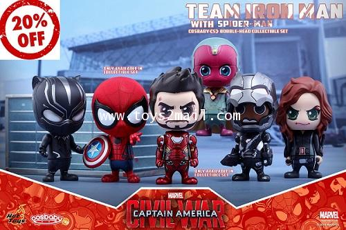 HOT TOYS COSBABY : CAPTAIN AMERICA CIVIL WAR : TEAM IRON MAN with SPIDER-MAN COLLECTIBLE SET [SOLD]