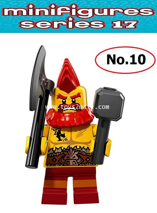 LEGO MINI FIGURE SERIES 17 : No.10 BATTLE DWARF นักรบเผ่าคนแคระ ซองสีฟ้าสดใส ปี 2017 [2]