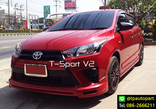 ชุดแต่งยาริส Toyota Yaris T-Sport V2 2013 2014 2015 2016 สเกิร์ตรอบคัน 3